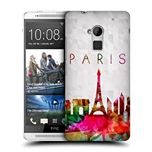 TopFshion Designs Eiffel Tower Paris France Watercoloured Skyline Protective Snap-on Hard Back Case Cover for HTC One Max