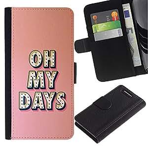 [Neutron-Star] Modelo colorido cuero de la carpeta del tirón del caso cubierta piel Holster Funda protecció Para Sony Xperia Z3 Compact / Z3 Mini (Not Z3) [Oh My Días texto Peach Pink Mensaje]