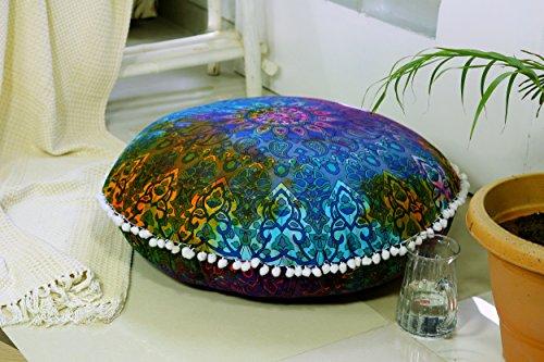 Popular Handicrafts Large Blue Hippie Mandala Floor Pillow Cover - Cushion Cover - Pouf Cover Round Bohemian Yoga Decor Floor Cushion Case- 32 Tie dye