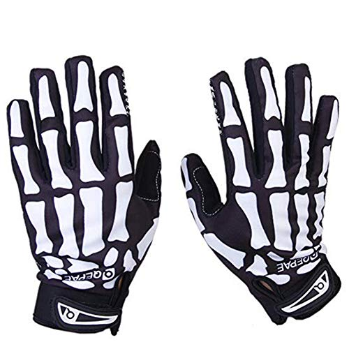 Domccy 1 Pair Bone Skeleton Cycling Gloves Winter Thermal Gloves Outdoor Sport Bicycle Racing Gloves Full Finger Cycling Riding Motorcycle Protective Hand Gloves for Women Men XL Sports Products ()