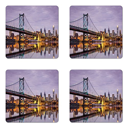 USA Coaster Set of Four by Lunarable, Ben Franklin Bridge and Philadelphia Skyline Setting Sun Reflections on Water, Square Hardboard Gloss Coasters for Drinks, Lilac Orange - Franklin Style Ben Glasses