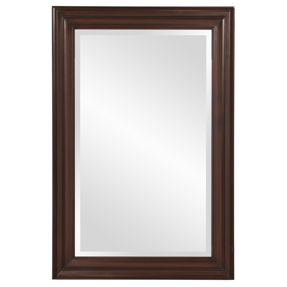 Howard Elliott George Mirror, Rectangle, Wood Framed Chocolate Brown Accent Mirror