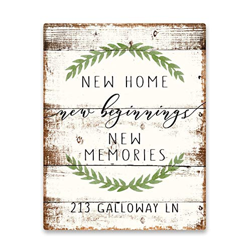 New Home New Beginnings New Memories Personalized Metal Sign Post Funny Wall Art Decoration Tin Sign 12 x 16 inches