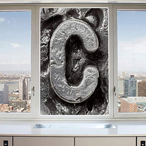 - 3D Decorative Privacy Window Films,Fused Elements Aluminum Style Minuscule C Words First Name Theme Background Artwork Decorative,No-Glue Self Static Cling Glass film for Home Bedroom Bathroom Kitchen
