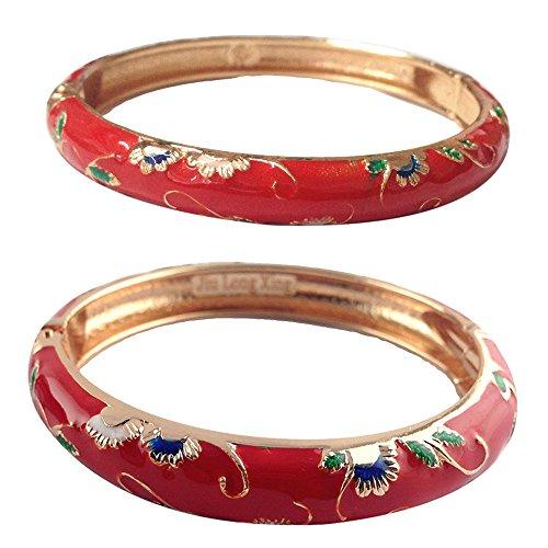 UJOY Fashion Cloisonne Bracelet Gold Colorful Enameled Butterfly Metal Cuff Hinge Bangles Jewelry for Women Girls Gift 55B30 - Fashion Hinge Bracelet