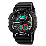 Men's Sport Watch, Dual Dial Waterproof Digital Analog 24H Military Outdoor Electronic LED Back Light Display Alarm Stopwatch 50M Water Resistant for Kids Boy Children Black Orange