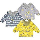 Lictin 3 Pcs Baberos Bebés con Mangas Impermeable- Baberos de Manga Larga de Algodón con Escote Ajustable, Material de…