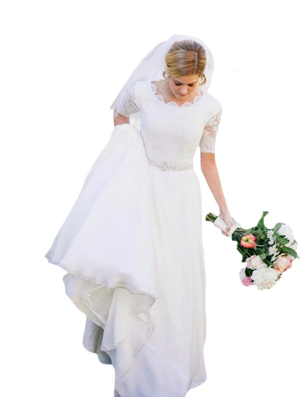 O.D.W Damen Lange Spitze Brautkleider Kurzarm Rustikale Vintage ...
