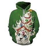 Couple 3D Santa Print Ugly Christmas Kangaroo Pocket Sweatshirt Hoodies Pullover Lady Cat 2X/3X