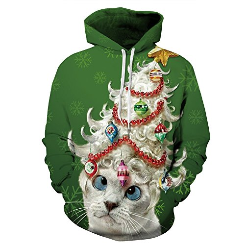 Couple 3D Santa Print Ugly Christmas Kangaroo Pocket Sweatshirt Hoodies Pullover Lady Cat L/XL -
