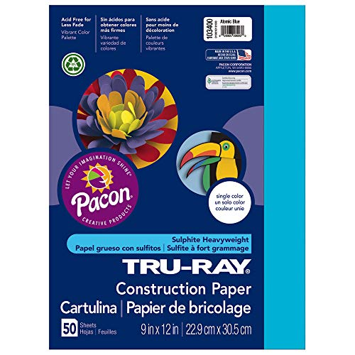 Tru-Ray Heavyweight Construction Paper, Atomic Blue,  9