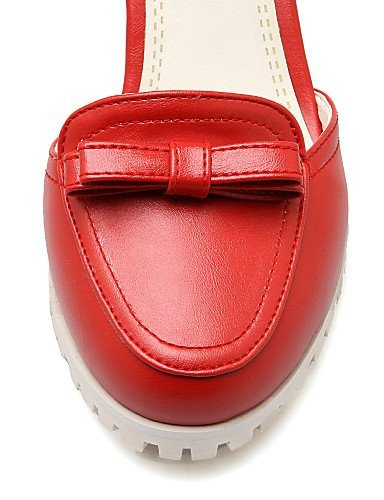 ShangYi Womens Shoes Patent Leather Chunky Heel Heels/ Closed Toe Heels Office & Career / Casual Blue / Pink / Red / White White