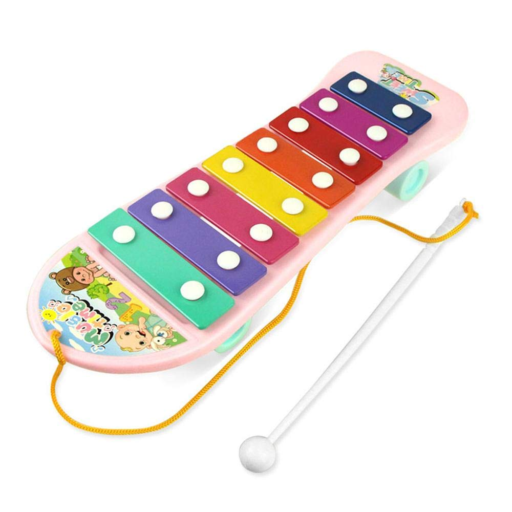 Children Percussion Toy Skateboard Xylophone for Kids Glockenspiel Musical Instruments Toys with Eight-Key Eight-tone Rainbow Metal Bars Birthday Holiday Gift for Child by Winkon