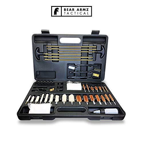 Bear Armz Tactical Universal Gun Cleaning Kit | American Company | Perfect for Shotguns, Rifles, Muzzle Loaders, Handguns and Pistols | Cleans Calibers .17- .50 (Black Case with Nylon Jags and Loops) (Best Small Caliber Rifle)