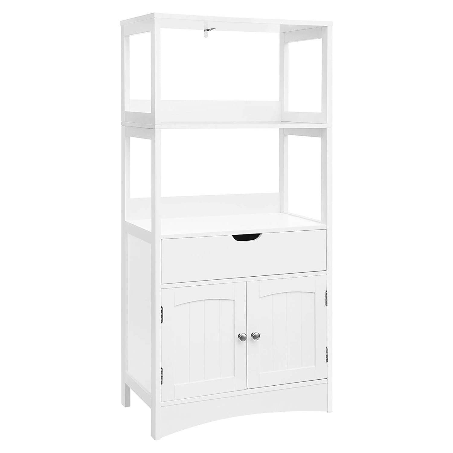 SONGMICS Bathroom Storage Cabinet with Drawer, 2 Open Shelves and Door Cupboard, Large Floor Cabinet in the Entryway Kitchen, White, UBBC64WT