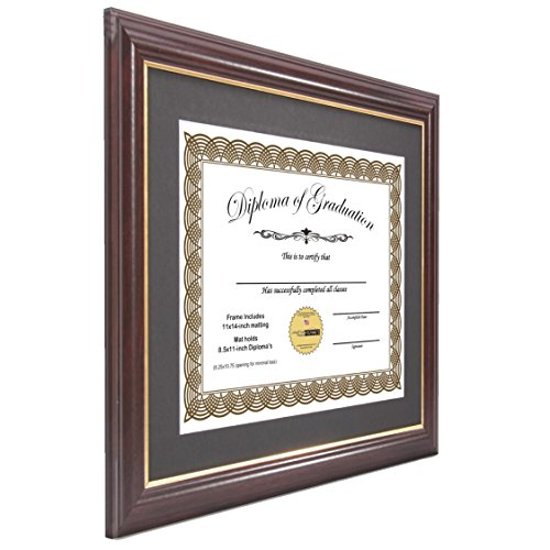 Creative Picture Frames CreativePF [11x14mh.gd] Mahogany Frame with Gold Rim, Black Matting Holds 8.5 by 11-inch Diploma with Easel and installed Hangers (12-Pack) by Creative Picture Frames (Image #2)