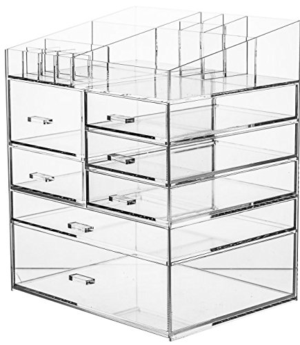 Cq acrylic 6 Tier Extra Large Clear Acrylic Makeup Organizer,Cosmetic Organizer and Jewelry Storage Display Case10.5x7.9x12.5.Clear Pack of 1