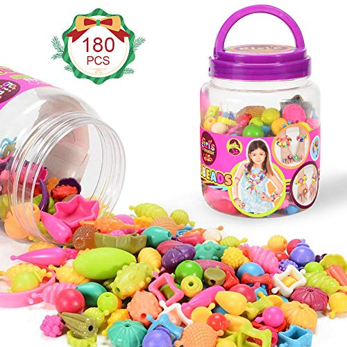 Sakiyr Pop Snap Beads , 180 Pcs Creativity DIY Jewelry Making Kit Art Crafts Bracelets,Necklaces and Rings Educational Gifts Toys for 3,4, 5, 6, 7 Year Old Girls