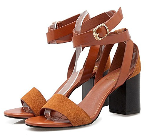 Easemax Womens Trendy Faux Suede Gladiator Open Toe Ankle Buckle Straps Mid Chunky Heel Sandals Brown