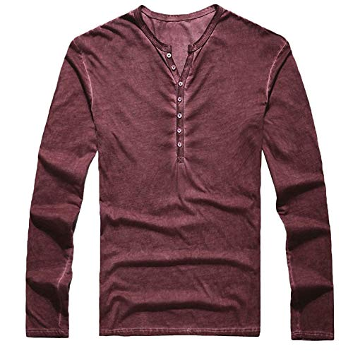 (POQOQ Henley T-Shirts Mens Long Sleeve Double Layered V-Neck Fashion Button Placket Lightweight Burnout Thermal and Heather XL Wine)