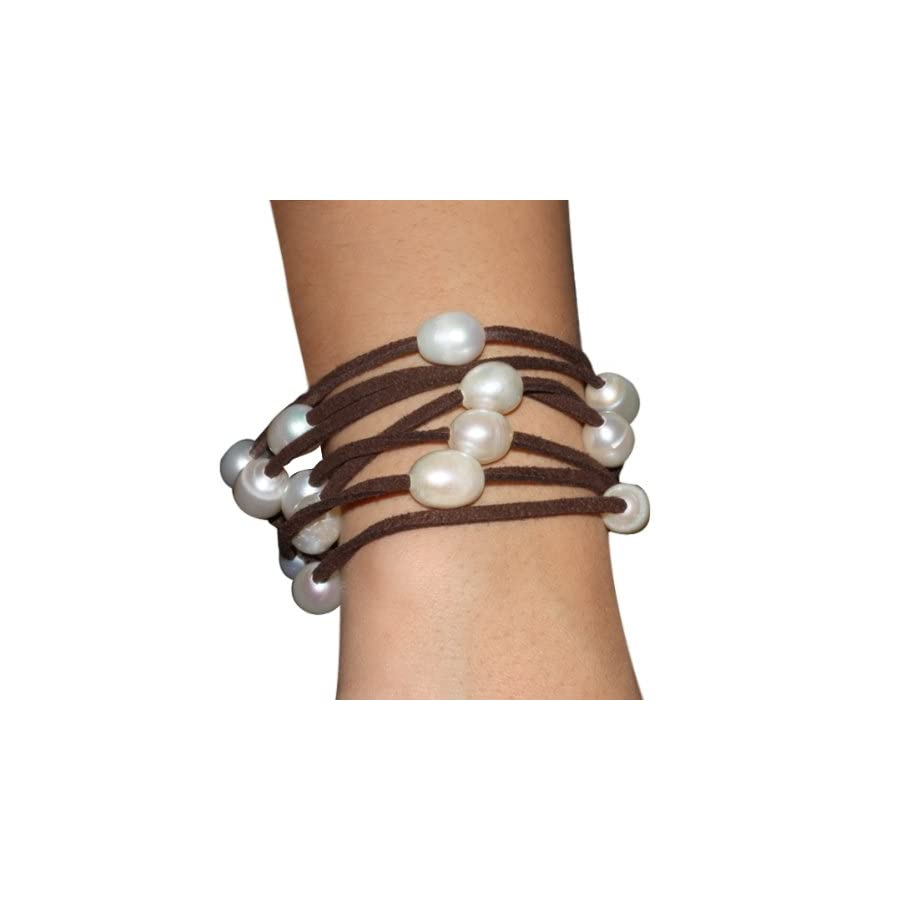 "Gem Stone King 48"" White Cultured Freshwater Pearl on Brown Leather Wrap Bracelet/Necklace"