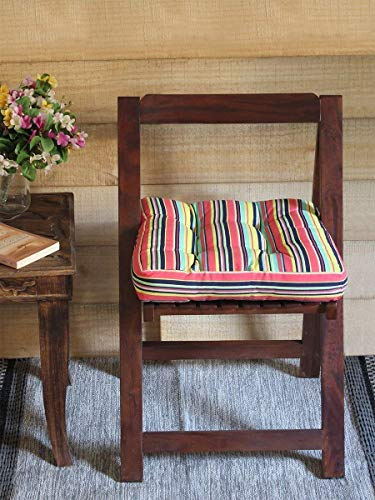 Square Chair Pad Indoor Cushion Car Seat Pillow Stool Cushion Striped Cotton Cover Polyester Filling 15 x 15 Inches for Women Men Kids ()