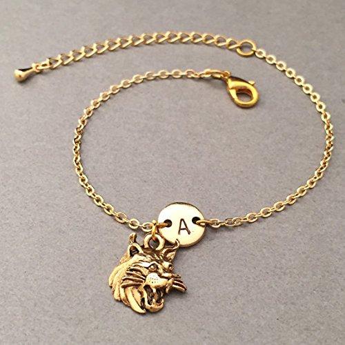 Wildcat head charm bracelet, wildcat head charm, adjustable bracelet, animal, personalized bracelet, initial bracelet, - Head Wildcat Bracelet