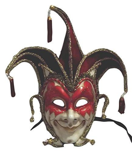 MGPS Jester Stick Mask Red Decorate or Wear Mardi Gras Masquerade Mask Wall Hanging (Jester Masks Mens Masquerade)