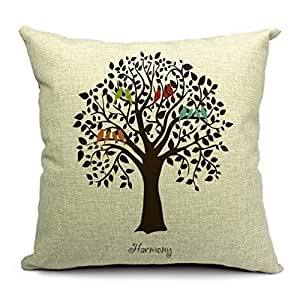 18x18 Inch Zippered Pillow Cases Cover Cushion CaseBird On Tree