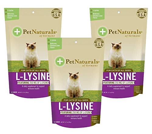 Pet Naturals of Vermont L-Lysine Fun-Shaped Chews for Cats - 3 packs of 60ct by Pet Naturals