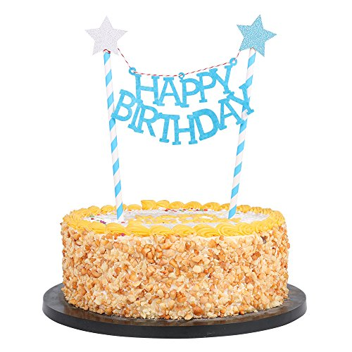 QIYNAO Mini Happy Birthday Banner Cake Topper,Party Cake Decoration Supplies -