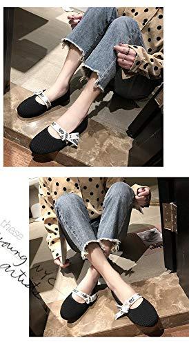 Mocasines Hembra Punto Solo Planos Boca Zapatos Negro Primavera De Estudiante Cabeza Redonda Baja Tejido Ar7ZxFwAq