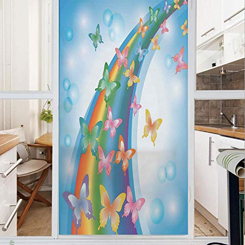 Decorative Window Film,No Glue Frosted Privacy Film,Stained Glass Door Film,Colorful Background with Rainbow Butterflies Bubbles Fairy Cheerful Graphic Print Decorative,for Home & Office,23.6In. by 47