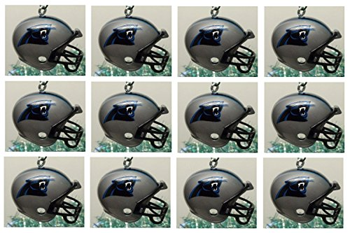 """Carolina Panthers Set of 12 Holiday Christmas Tree Ornaments Featuring Panthers Team Ornaments Ranging from 1.5"""" to 2"""" Tall"""