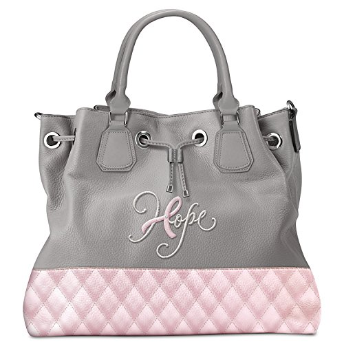 Hope Breast Cancer Awareness Pink And Gray Bucket Faux Leather Handbag By The Bradford Exchange 01-22034-001