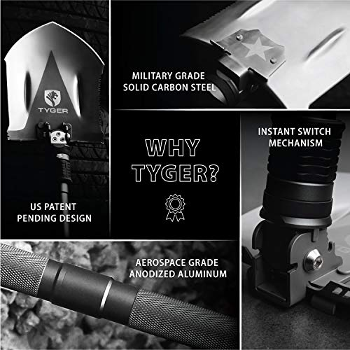 Tyger Shovel TG-SV8U3217 Military Heavyduty Folding Compact Tool with 16-in-1 Multifunction for Off-Roading, Camping, Outdoor, Survivalist and Emergency by Tyger Auto (Image #3)