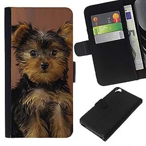 EJOY---La carpeta del tirón la caja de cuero de alta calidad de la PU Caso protector / HTC Desire 820 / --Perrito de Yorkshire Terrier Perro Sorprendido