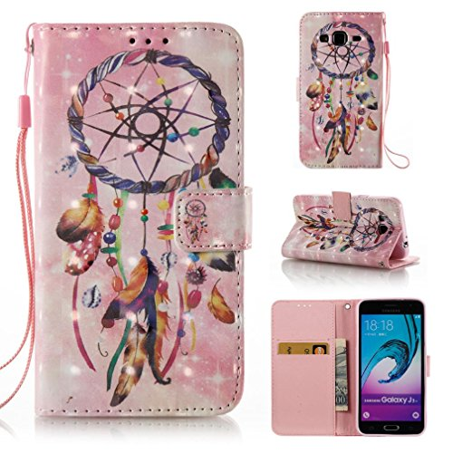 FlREFlSH Galaxy J3/J310 case, Detachable Wallet Dustproof Scratch Resistant Cover Card Holder Unique Design Thin Cushion 3D Painted Magnetic PU Leather Case Pocket for Samsung Galaxy J3/J310-Pink