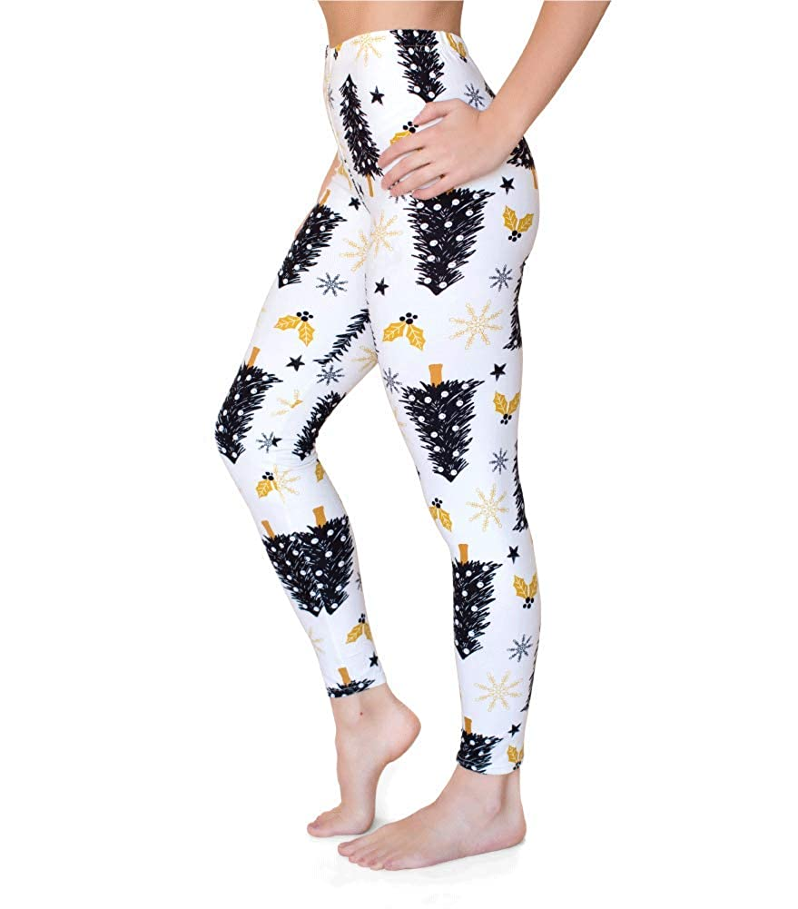 988f1a86b30a1 Amazon.com: Velvet Moose Womens Leggings Patterned Non See Through  Christmas Holiday (Tree): Clothing