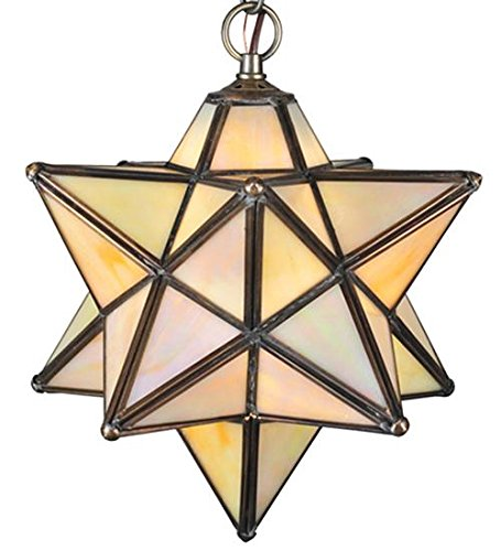 - Meyda Tiffany 12123 Width Moravian Star Iridescent Pendant, Mini, Beige