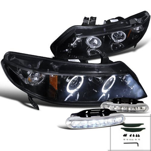 Glossy Black Honda Civic 4Dr Halo Projector Headlights+LED Driving - Honda Headlights 2011 Civic Sedan
