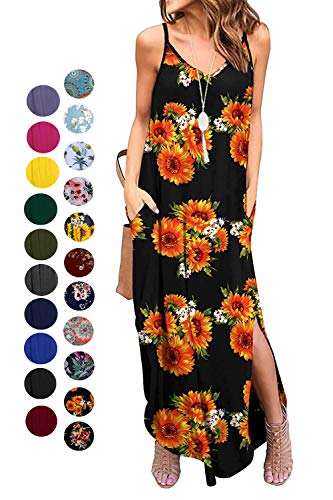 Kyerivs Women's Summer Dress Casual Loose Beach Cover Up Long Plain Print Cami Maxi Dresses with Pocket Sunflower S (6-8)