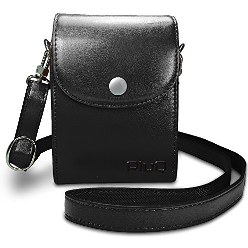 PiuQ Premium Leather [Deluxe Box] Protective Compact Case with Magnetic Closure and Strap Compatible with Canon, Sony, Casio, Panasonic Point & Shoot Digital Camera (Black)