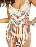 shermie Women's Halter Crochet Lace Swimsuit Cover Ups with Tassels Beach Wear White L