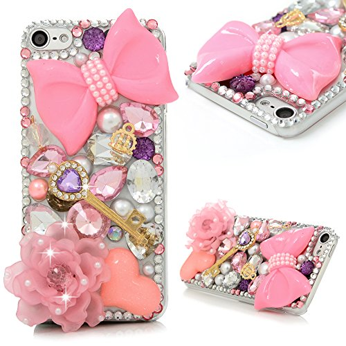 iPod 6 Case,iPod Touch 6 Case- MOLLYCOOCLE 3D Handmade Crystal Pink Flower Butterfly Bow Shiny Glitter Sparkly Diamond Rhinestone Clear Hard Shell Skin Cover for iPod Touch 6 6th Generation (Crystal Skin Cover)