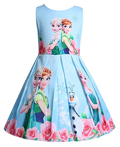 WNQY Princess Anna Costume Dresses Little Girls Cosplay Dress up (110/3-4Y, Light Blue)