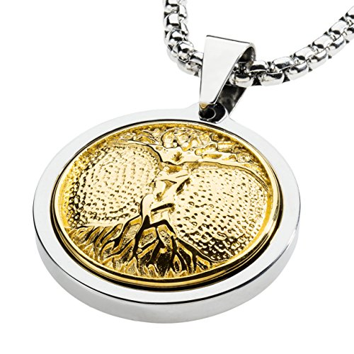 (GESTALT COUTURE Unique Tungsten Medallion Necklace. Stainless Steel Tree of Life Inlay with 18kt Gold Plating. 26 inch Chain.)