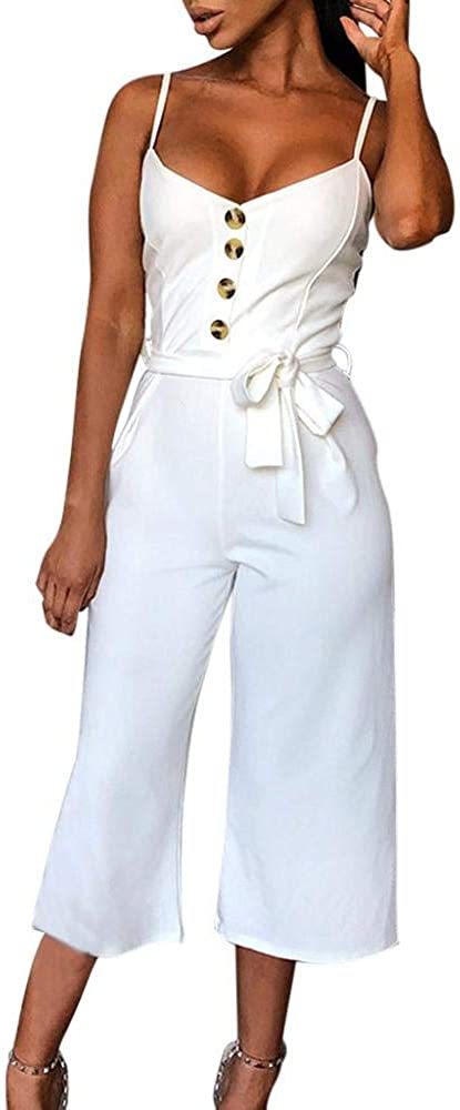 STORTO Women Button Off Shoulder Sleeveless Rompers Jumpsuit Playsuit with Belt: Clothing