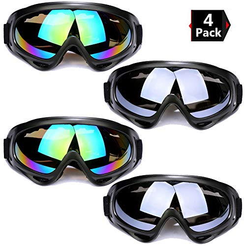 Peicees 4 Pack Ski Goggles Winter Snowboard Adjustable UV 400 Protective Motorcycle Snow Goggles Outdoor Sports Tactical Glasses Dustproof Military Sunglasses for Kids Boys Girls Youth Men ()