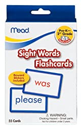 Mead Flashcards, Sight Words, Grades PK-2, 3.62 x 5.25 Inches, 55 Cards (63124)
